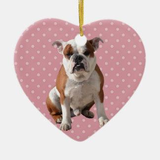 Cute Bulldog with pink Polka Dots background Ceramic Heart Ornament