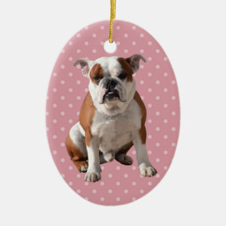 Cute Bulldog with pink Polka Dots background Ceramic Oval Ornament