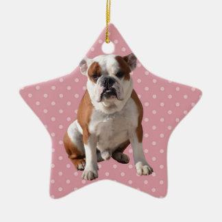 Cute Bulldog with pink Polka Dots background Ceramic Star Ornament