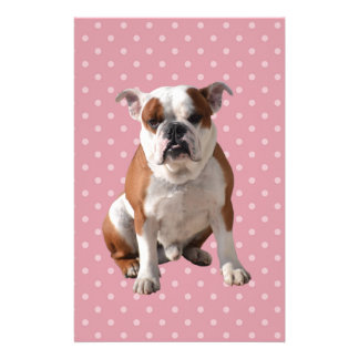 Cute Bulldog with pink Polka Dots background Personalized Stationery