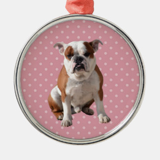 Cute Bulldog with pink Polka Dots background Silver-Colored Round Ornament