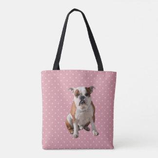 Cute Bulldog with pink Polka Dots background Tote Bag