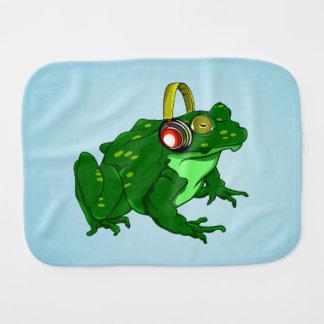 Cute Bullfrog Wearing Headphones Baby Burp Cloth