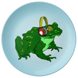 Cute Bullfrog Wearing Headphones Porcelain Plate
