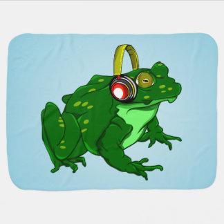 Cute Bullfrog Wearing Headphones Stroller Blanket