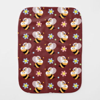 Cute Bumble Bee And Colorful Flower Pattern Baby Burp Cloth