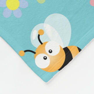 Cute Bumble Bee And Colorful Flower Pattern Fleece Blanket