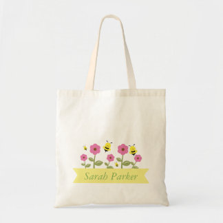 Cute Bumble Bee and Flowers Kids Tote Bag