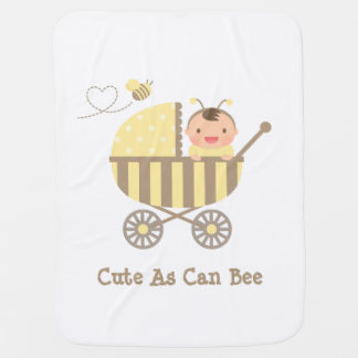 Cute Bumble Bee Baby in Stroller Pun Swaddle Blankets