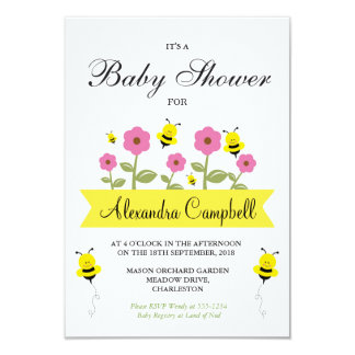 Cute Bumble Bee Baby Shower Invitation