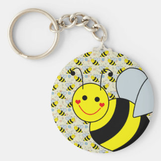 Cute Bumble Bee Basic Round Button Keychain