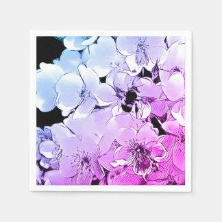 Cute Bumble Bee & Blue/Purple Rose Cocktail Napkin Paper Napkin