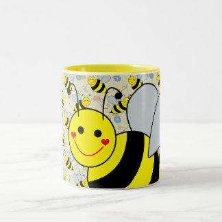Cute Bumble Bee Design Two-Tone Coffee Mug