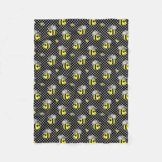 Cute Bumble Bee Pattern Black Fleece Blanket