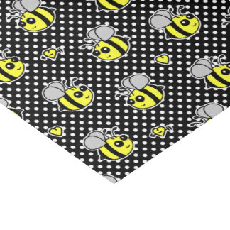 Cute Bumble Bee Pattern Black Tissue Paper