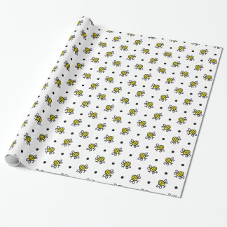 Cute Bumble Bee Pattern Choose Colour Gift Wrap
