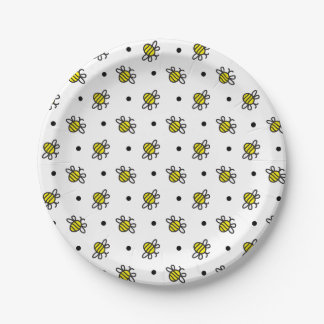 Cute Bumble Bee Pattern Paper Plates 7 Inch Plate