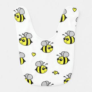 Cute Bumble Bee Pattern White Bib