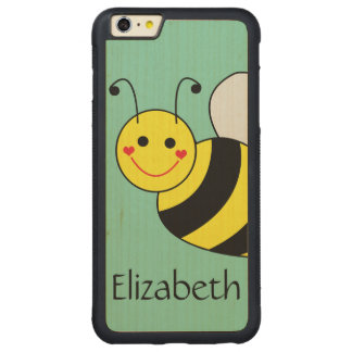 Cute Bumble Bee Personalized Carved® Maple iPhone 6 Plus Bumper Case