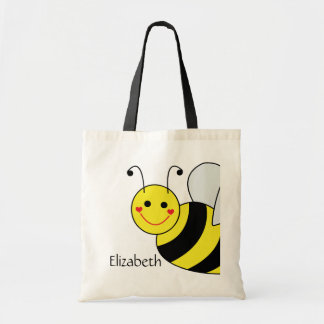 Cute Bumble Bee Personalized Tote Bag