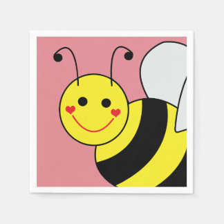 Cute Bumble Bee Pink Disposable Napkin
