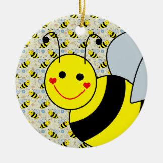 Cute Bumble Bee Round Ceramic Ornament