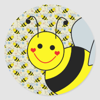 Cute Bumble Bee Round Sticker