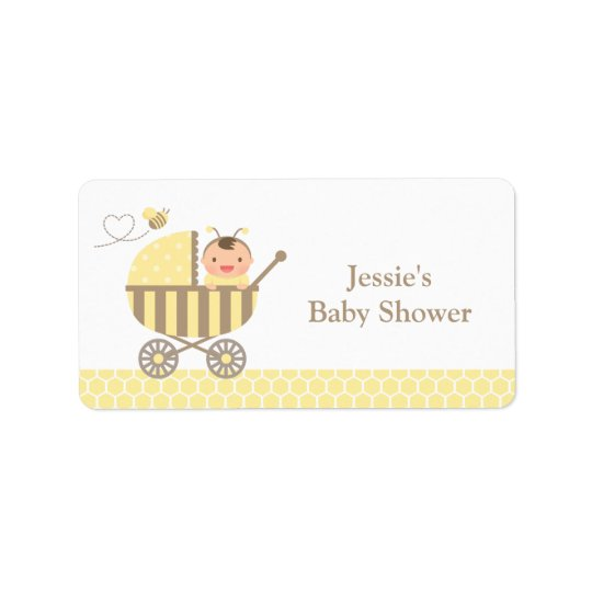 Cute Bumble Bee Stroller Baby Shower Labels