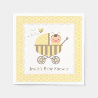 Cute Bumble Bee Stroller Baby Shower Supplies Paper Napkin