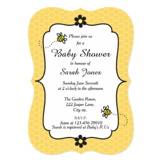 """Cute Bumble Bee Themed Baby Shower Invitation 5"""" X 7"""" Invitation Card"""