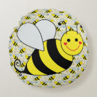 Cute Bumble Bee with Pattern Round Pillow