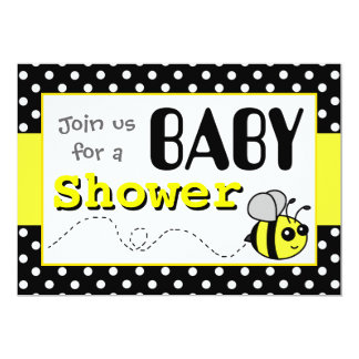 Cute Bumble Bee Yellow and Black Baby Shower Card