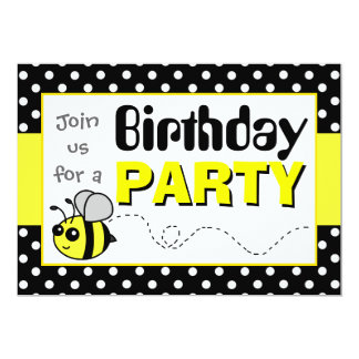 Cute Bumble Bee Yellow and Black Birthday Party Card