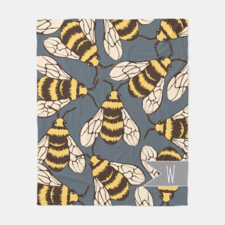 Cute Bumble Bees Illustration - Personalized Fleece Blanket