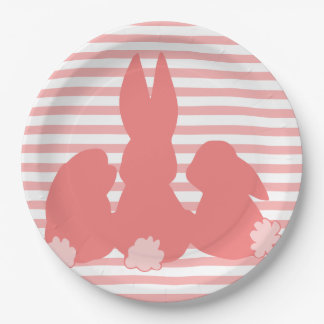 Cute Bunnies - Coral Striped Paper Plates