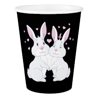 Cute Bunnies in Love Paper Cup