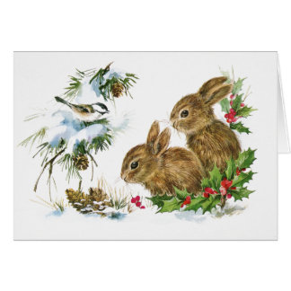 Cute Bunnies in the Snow at Christmas Card