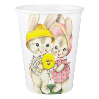 Cute bunnies paper cup