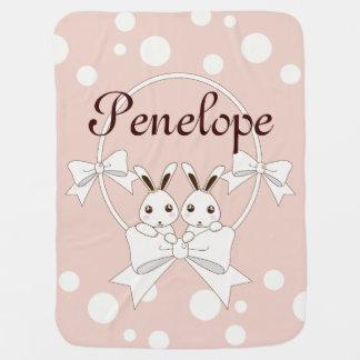 Cute Bunnies w/ Ribbons Baby Girl Name Pink Receiving Blankets
