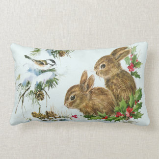 Cute Bunnies with Christmas Holly Berries Lumbar Pillow