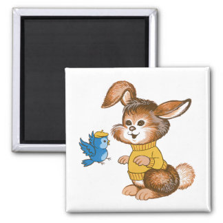 Cute Bunny and Bluebird Magnet