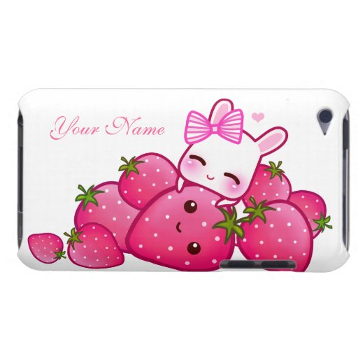 Cute bunny and kawaii strawberries - Personalized iPod Touch Cover