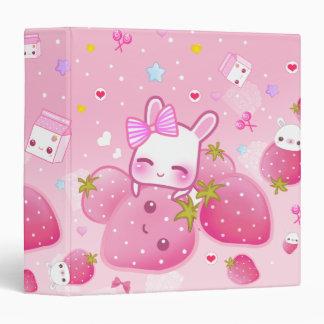 Cute bunny and kawaii strawberries vinyl binders