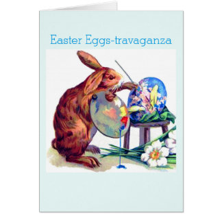 Cute Bunny Artist Easter Egg Greeting Card