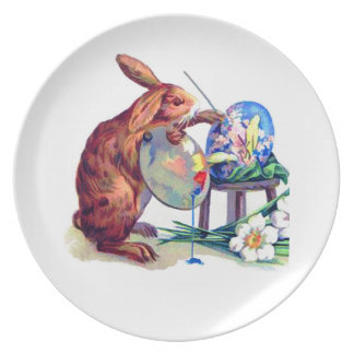 Cute Bunny Artist with Easter Egg Party Plates