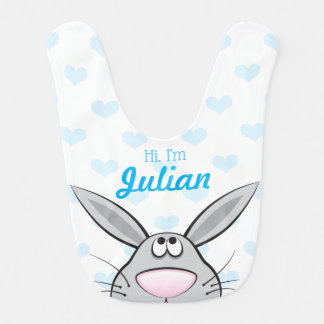 Cute bunny Bib with Baby's name, Custom Color