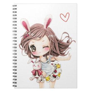 Cute bunny chibi girl notebooks