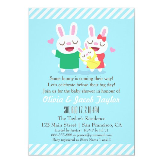 Cute Bunny Couple and Baby Shower Invitations