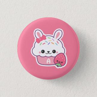 Cute Bunny Cupcake Monogram 1 Inch Round Button