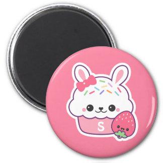 Cute Bunny Cupcake Monogram Magnet